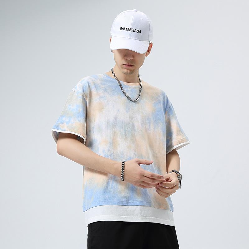 夏季嘻哈潮男短袖T恤渐变扎染圆领上衣2021新款港风宽松半袖体恤
