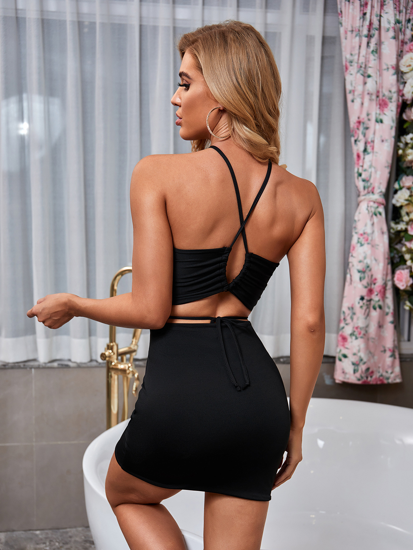 new cross hanging neck two-piece open back sexy hollow package hip skirt wholesale nihaostyle clothing NSXPF69967