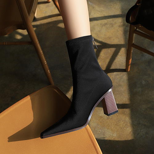 333-2 han edition style wood with thick with high with small square satin elastic leica female thin short boots boots