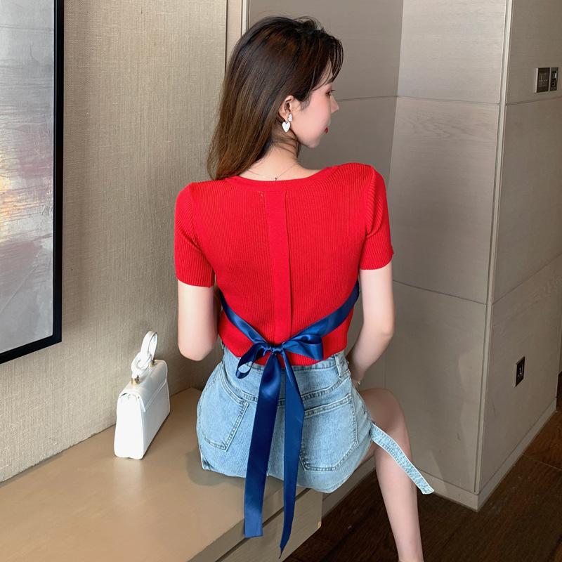 设计感小心机后背系带针织衫夏2021新款短袖t恤上衣女修身打底衫