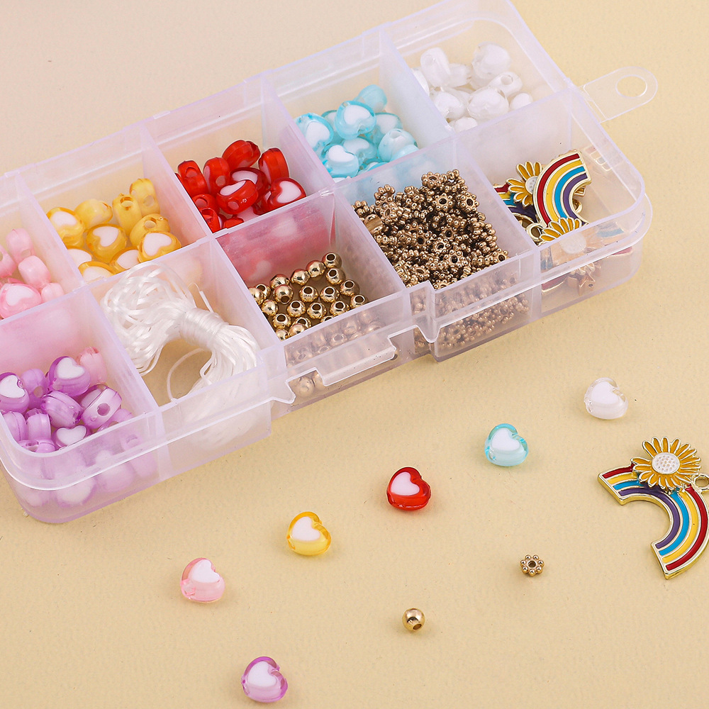 10 grid rainbow heartshape beads handmade diy production material package NHLL331899