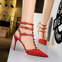 3362-2 in Europe and the Roman style sexy night club a stiletto heel suede pointed hollow-out suede metal rivets sandals