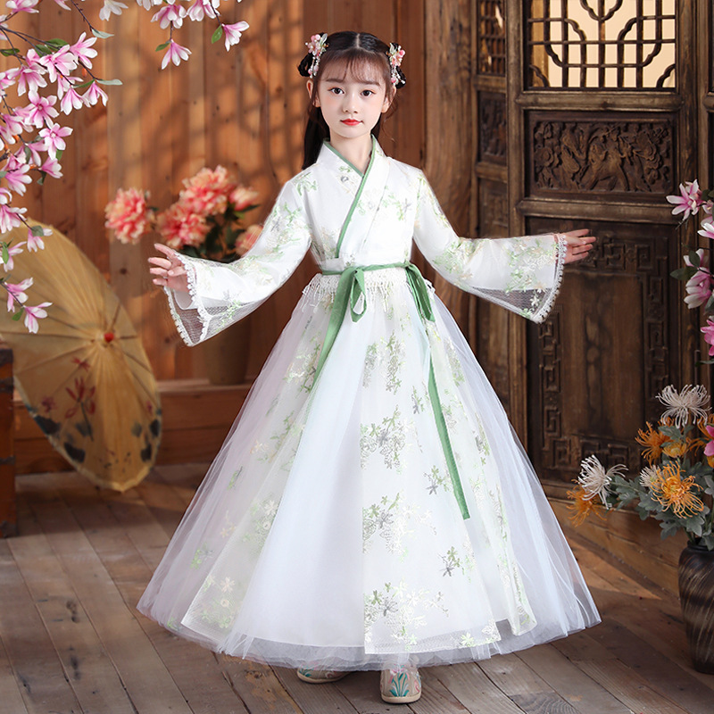 Kids girls Chinese Hanfu Chinese style ancient traditional folk costumes han tang princess cosplay dress carnival party stage performance photos shooting Tang suit for girls