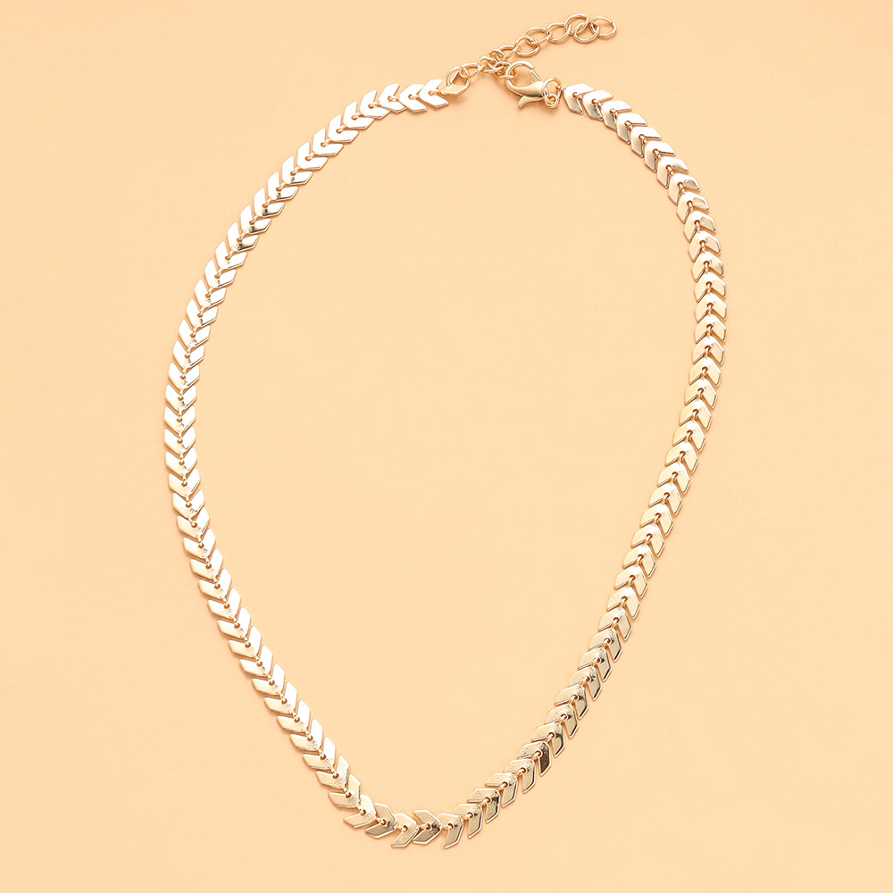 Fashion geometric metal chain multilayer golden leaf necklace wholesale NHPV342509