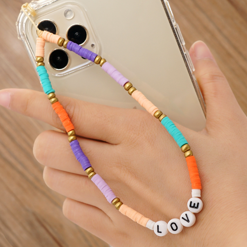 simple style acrylic letter stained glass rice beads mobile phone chain lanyard  NHYUZ369290