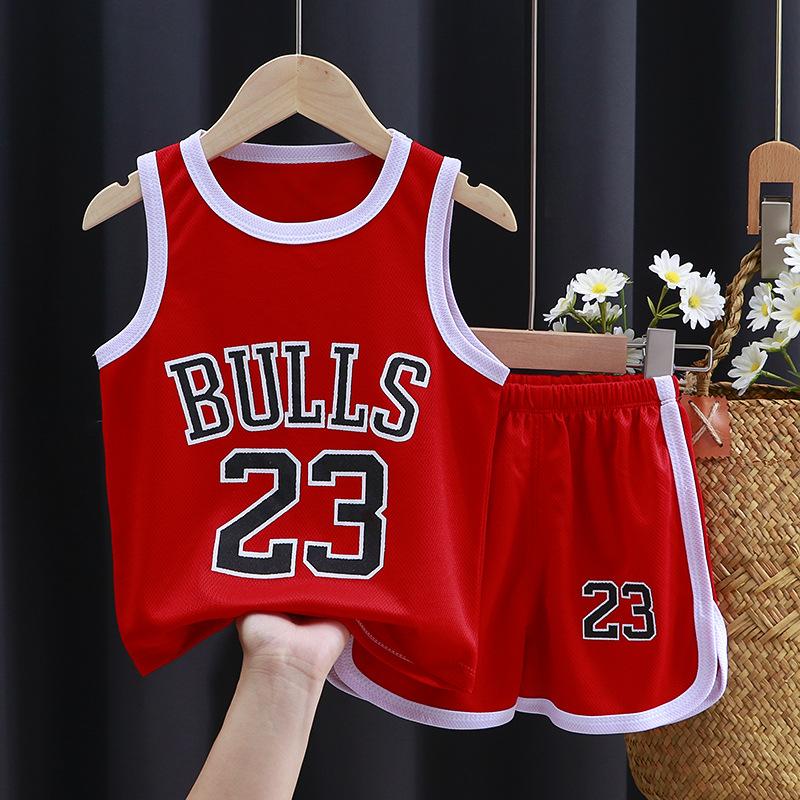 新童装夏季儿童运动球服套装男童短袖套装宝宝篮球服夏季背心短裤