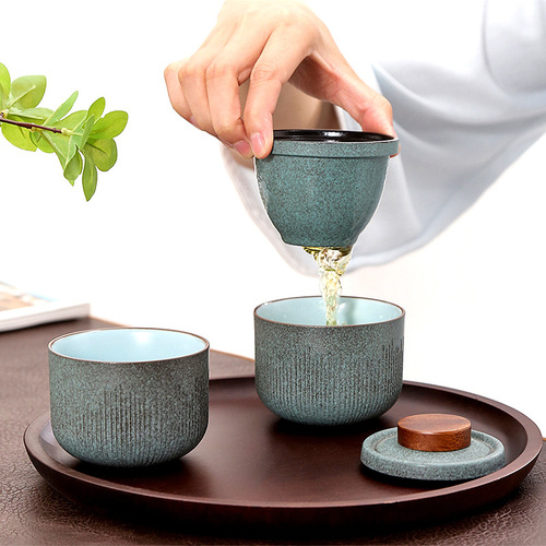 Travel green kung fu tea teacups set Striped Express Cup One pot and two cups ceramic portable bag Japanese style outdoor mini portable teacups
