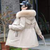 2021冬季新款韩版百搭中长款绒派克服妈妈装冬装加厚女装外套,女装羽绒服,语缦