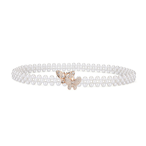 Lady Pearl gemstones decorative belt Waist Chain Jewelry pearl braided belt for dress Girls butterfly buckle belt sashes