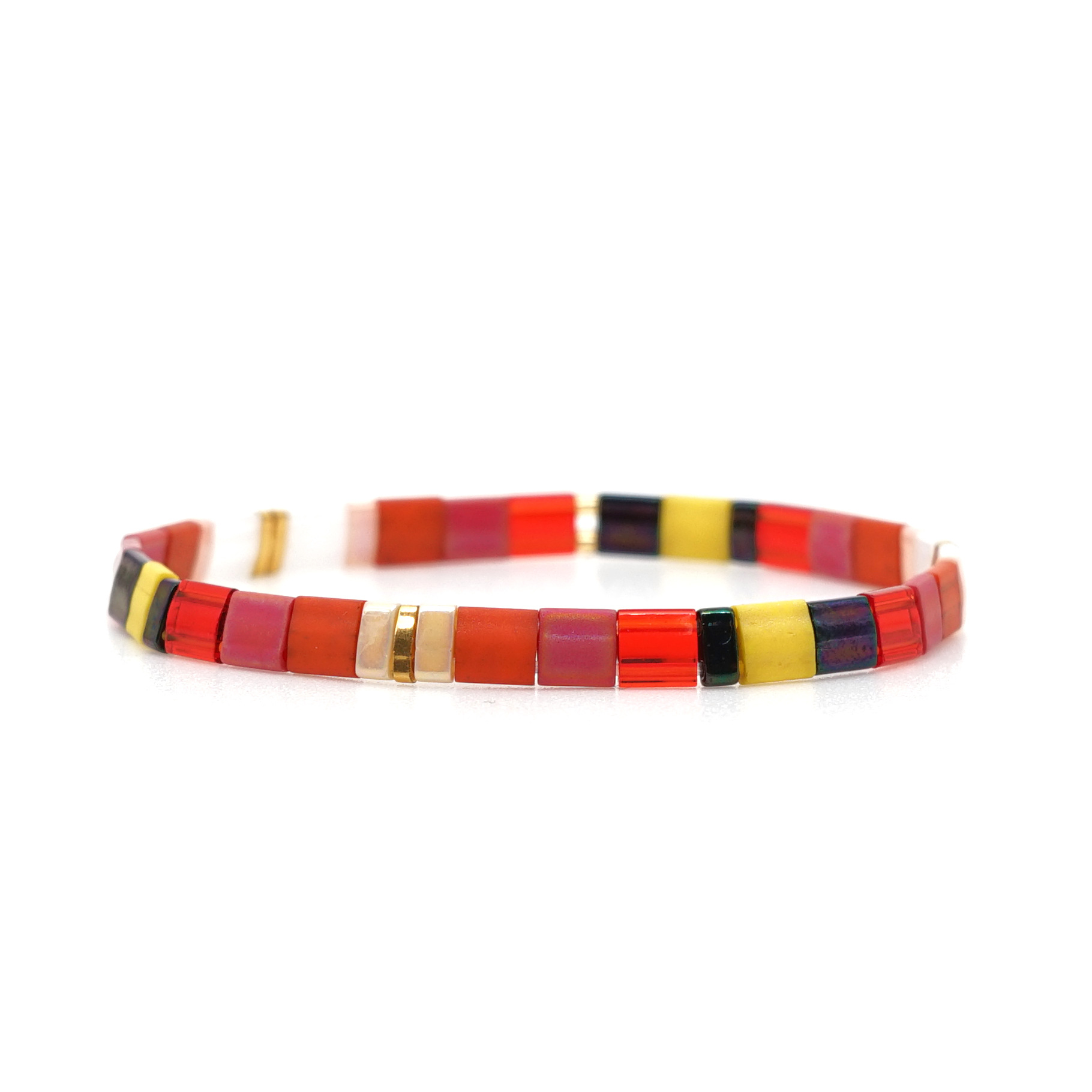 Bohemian beads woven multilayered contrast color bracelet NHGW336401