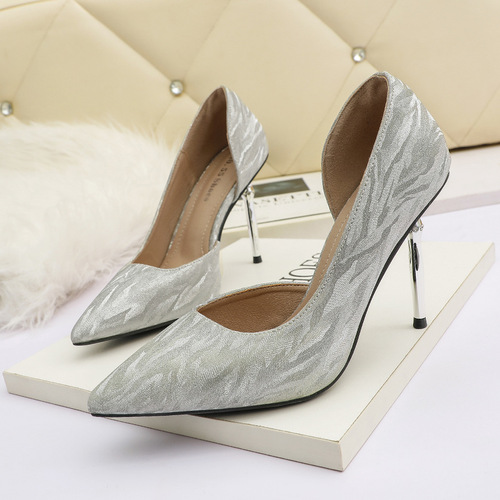 1118-3 in Europe and the sexy pointed shallow mouth high-heeled shoes web celebrity party side empty women's shoe heel nightclubs OL for women's shoes