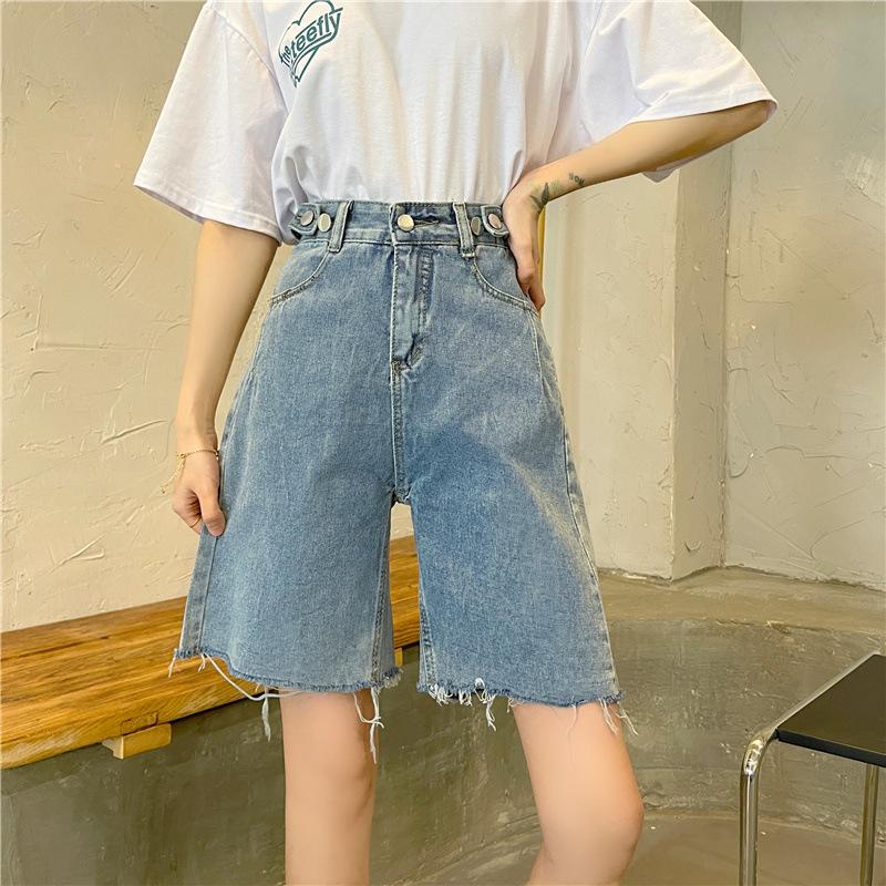 批发2021春夏新款韩版牛仔短裤女学生百搭显瘦五分短裤显高短裤子