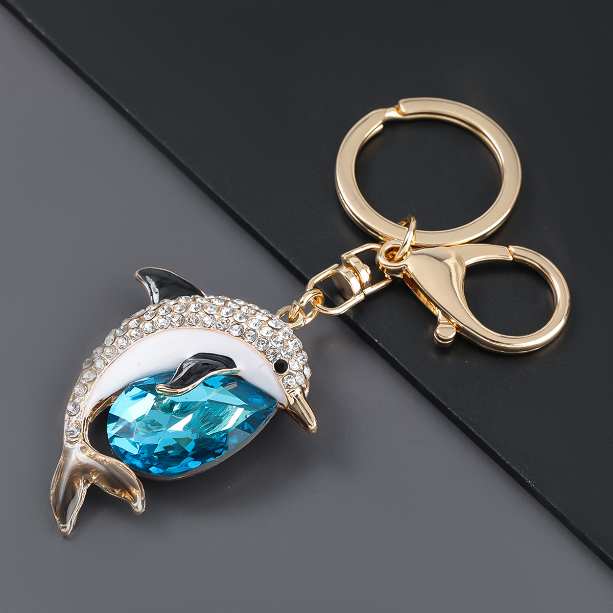 alloy diamond cute dolphin keychain  NHJE303118