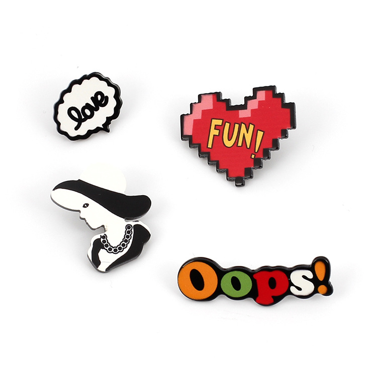 Cute Cartoon Letter Acrylic Brooch Set NHRN324505