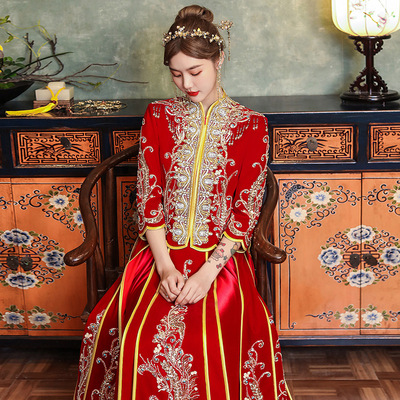 Women Chinese Wedding party Xiuhe clothing chinese wedding  party bridal gown Indian wire diamond strip embroidered bling dress for lady
