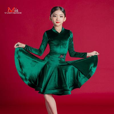 Girls dark green velvet competition latin dance dresses stage performance modern ballroom latin dance costumes for kids