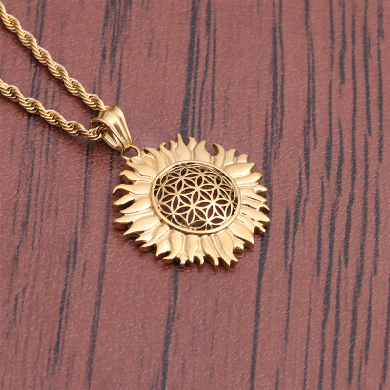 new fashion stainless steel sun flower necklace wholesale NHYL368175