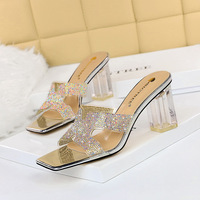 5016-1 han edition outside the fashion to wear female cool slippers with square head peep-toe transparent thick with high diamond hollow out sandals