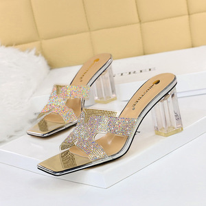 5016-1 han edition outside the fashion to wear female cool slippers with square head peep-toe transparent thick with hig