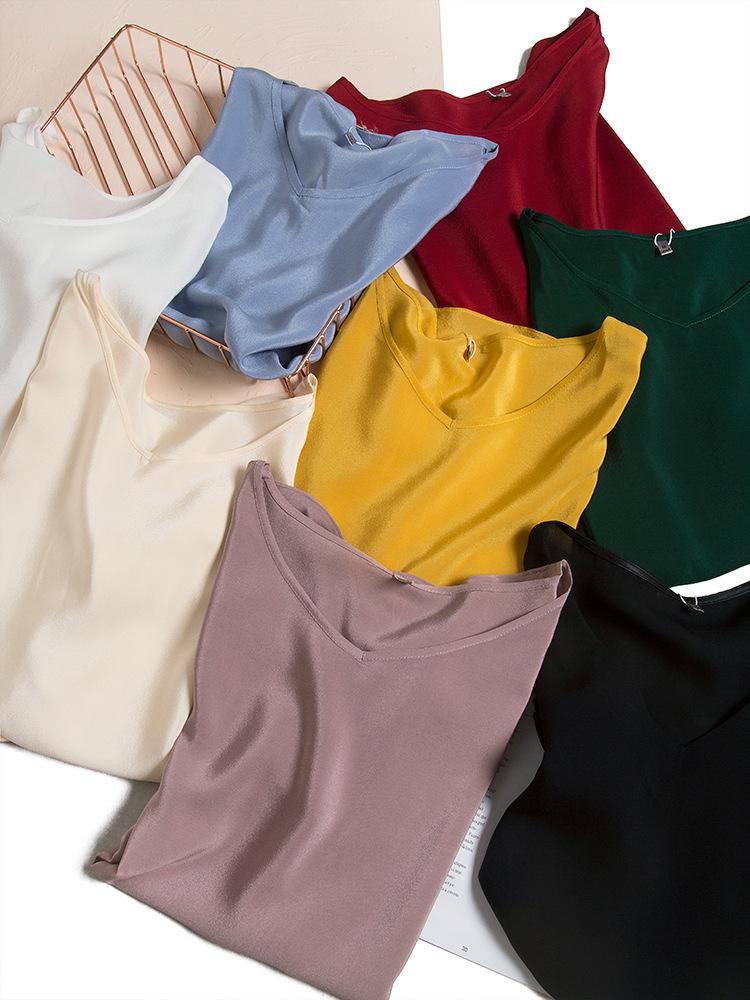 不便宜但足够高阶!真丝双绉V领衬衫T恤女 2021新品春