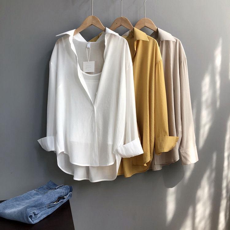 衬衫设计感小众复古港味宽松韩版衬衣2021新款春季春装女上衣轻熟