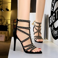 83121-5 retro fashion in Europe and America ultra-high with summer shoes hollow-out peep-toe metal rivets Roman sandals shoes