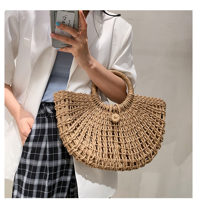 New retro straw woven bag NHJZ324489