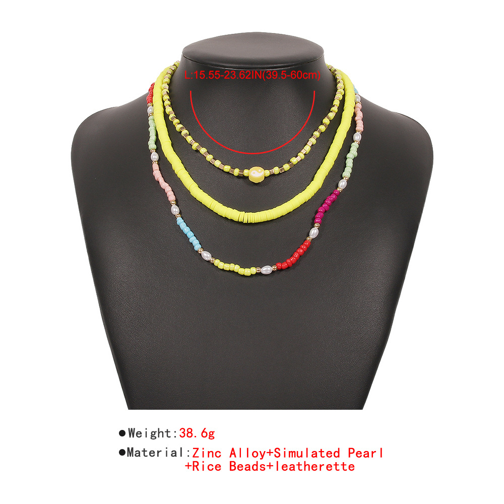 bohemian bead alloy imitation pearl multilayer clavicle chain NHMD352182