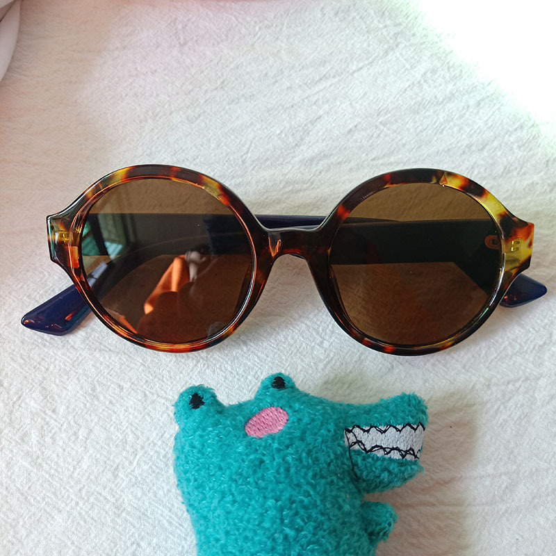 fashion anti-ultraviolet colorful round frame sunglasses NHBA325467