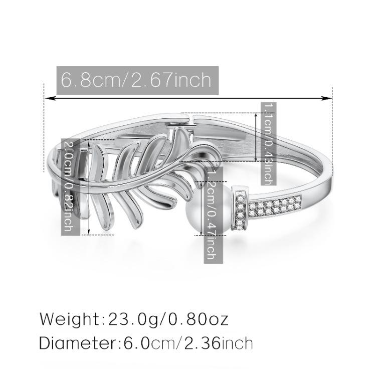 fashion creative leaf feather diamonds bracelet NHBD367374