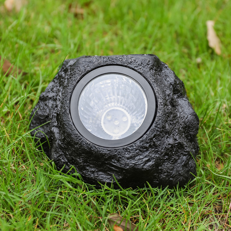 跨境热销LED户外花园草坪装饰防水照明庭院射灯 太阳能仿真石头灯