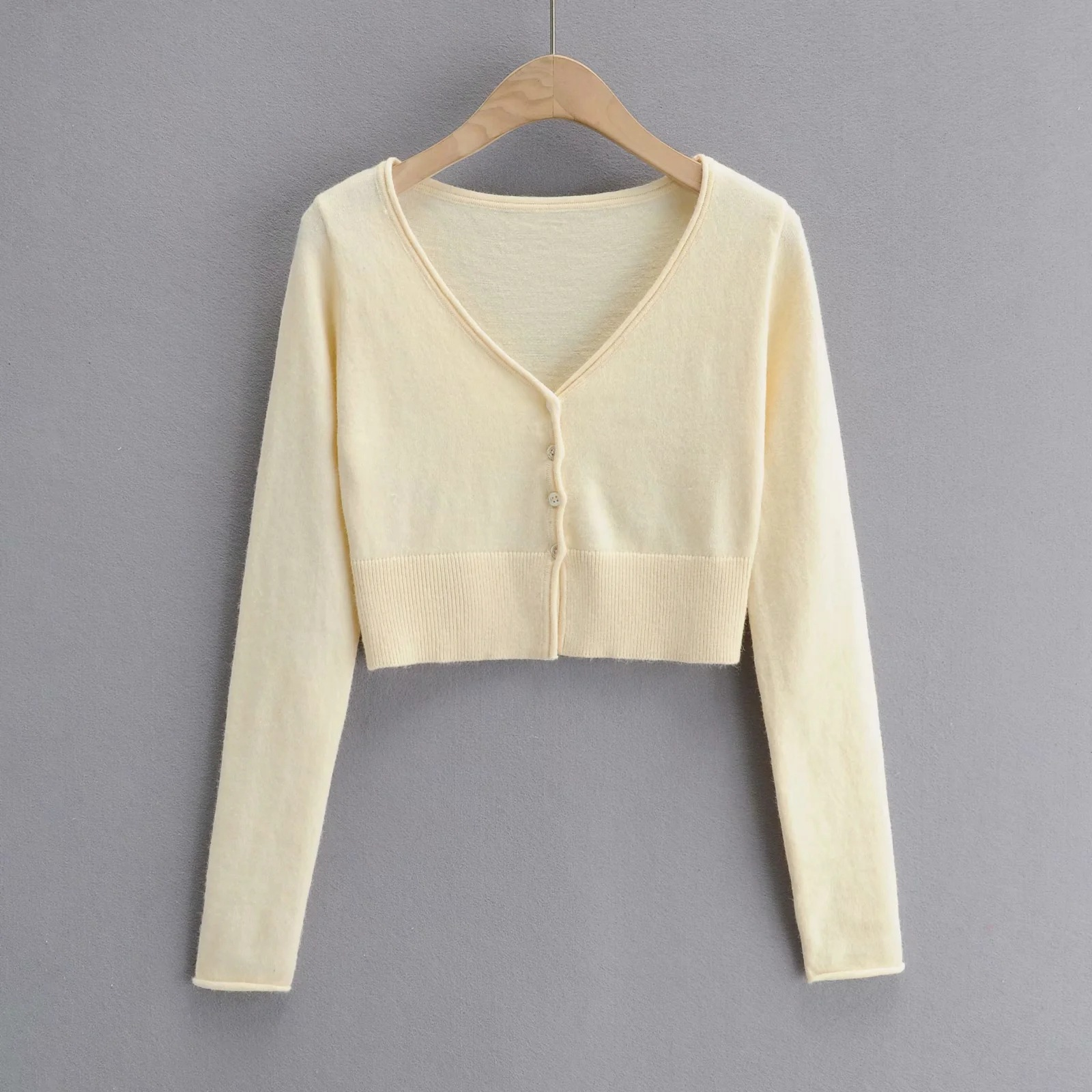 Solid color knitted cardigan  NSAC24906