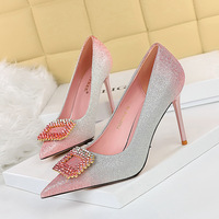 The 96161-8 han edition sexy high-heeled shoes high heel with shallow mouth party pointed color gradient diamond buckle shoes