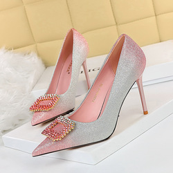 96161-8 Korean sexy banquet high heeled shoes thin heeled high heeled light mouth pointed color gradient diamond button single shoes