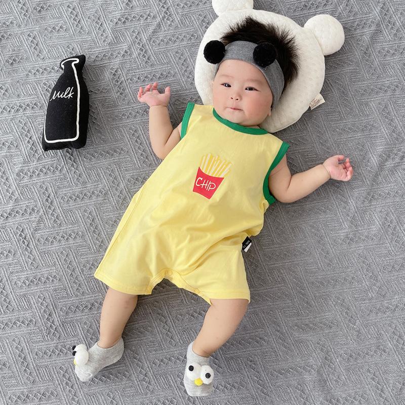 网红婴儿连体衣夏季薄款哈衣爬服超萌夏装女一岁男宝宝衣服外出潮