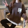 秋冬新款毛衣韓版寬松慵懶風字母圓領假兩件針織上衣