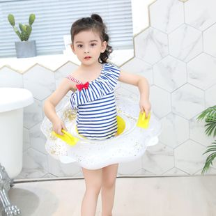 Jialan spot thickened sequin flower seat ring children's inflatable seat rollover prevention baby swimming ring underarm ring