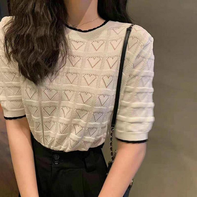 2021夏季新款撞色短袖针织上衣女百搭圆领镂空爱心t恤衫打底小衫