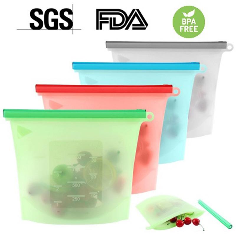 食品级硅胶保鲜袋 硅胶食品自封袋 食品收纳袋 冰箱密封袋 1 1.5L