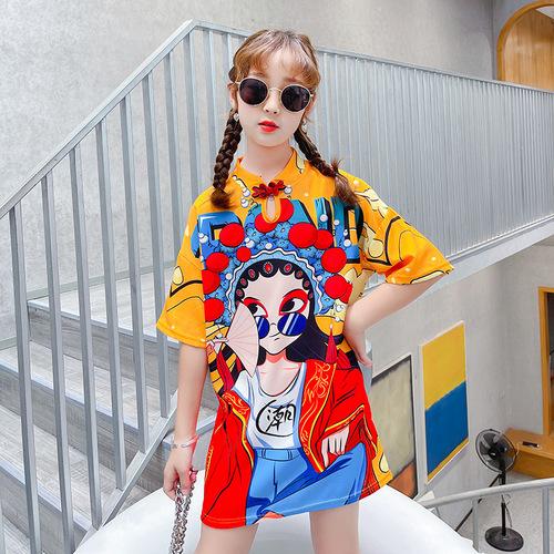 Girls kids peking opera printed chinese dress stage performance fairy dress tang suit drama cosplay qipao dress for girls