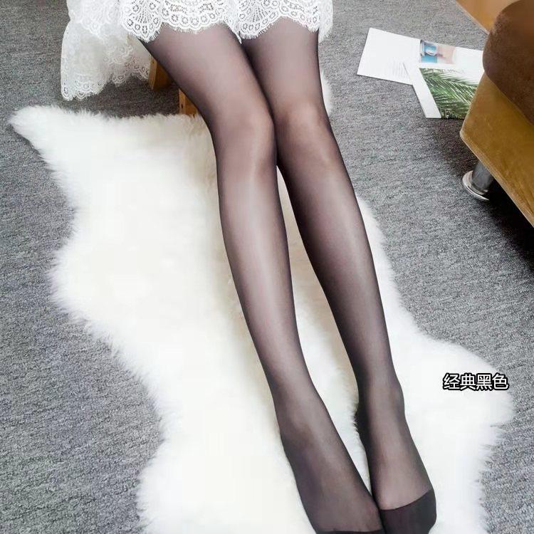 Summer Thin Core-spun Silk Material Black Stockings Bottom Socks