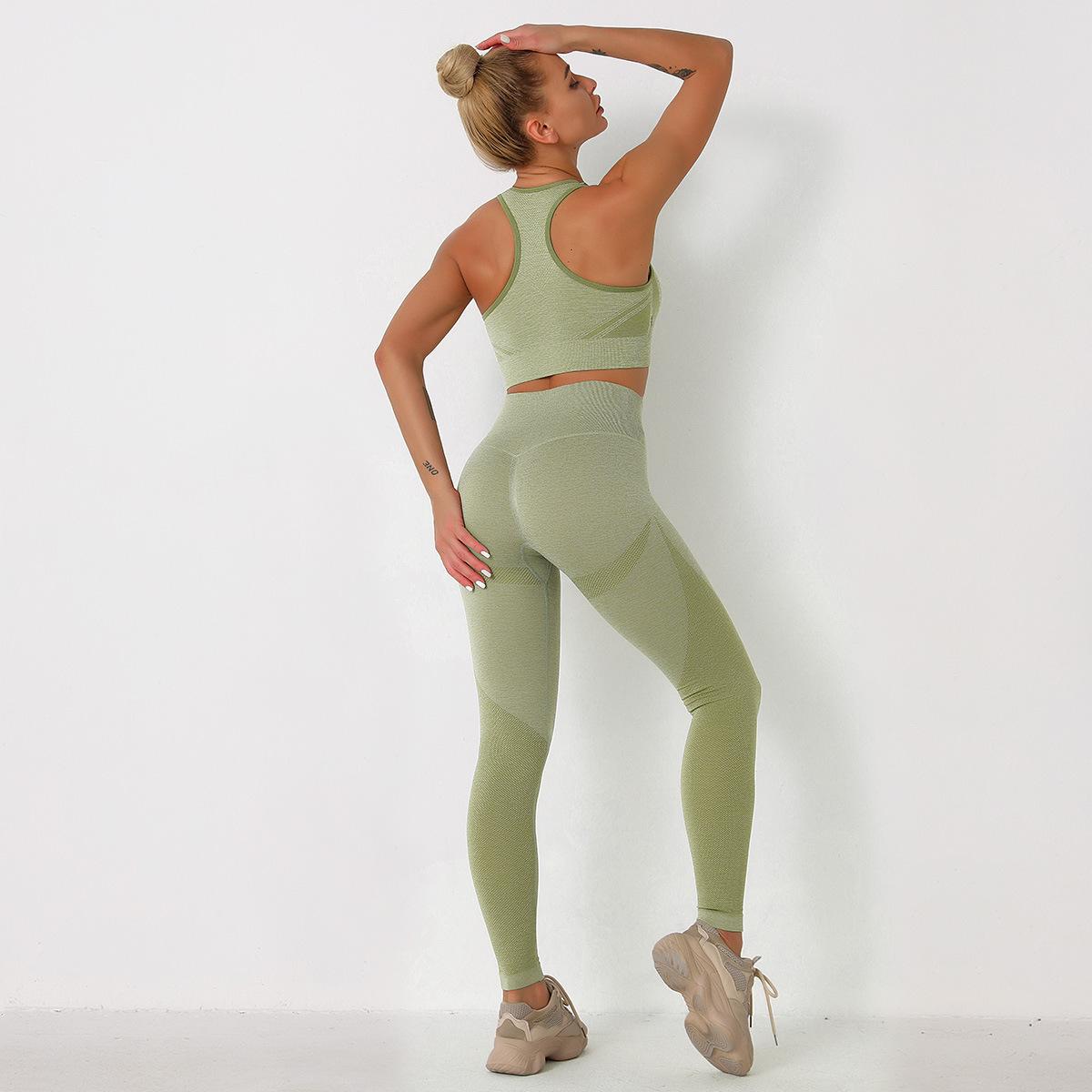 Light support sport bra & seamless wideband waist legging set NSLX48726