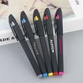 签字笔定制logo 塑料喷胶中性笔 商务办公签字笔 黑色0.5mm水性笔