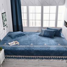 定做高端水晶绒榻榻米床盖 防滑单件三件套垫罩 农村大炕夹棉床单