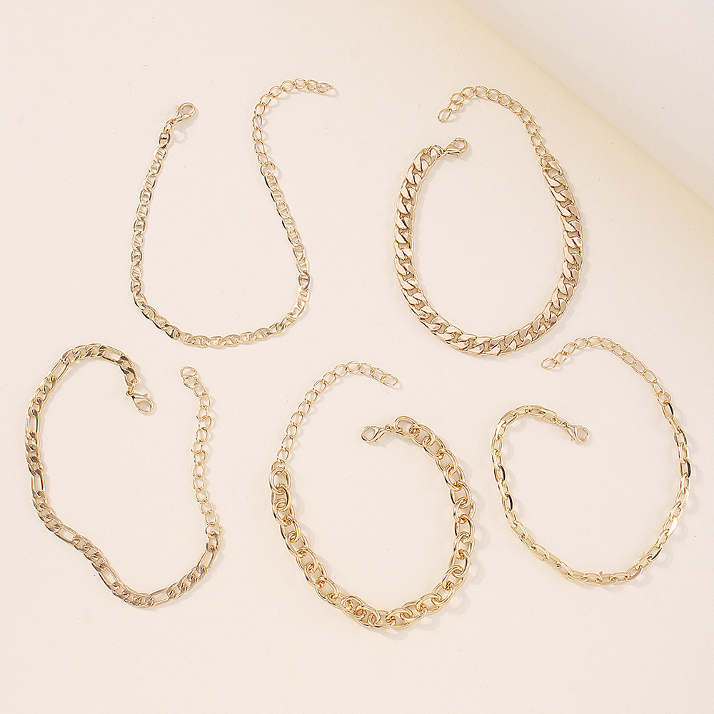 Fashion thick chain alloy multilayered bracelet wholesale NHMD342464