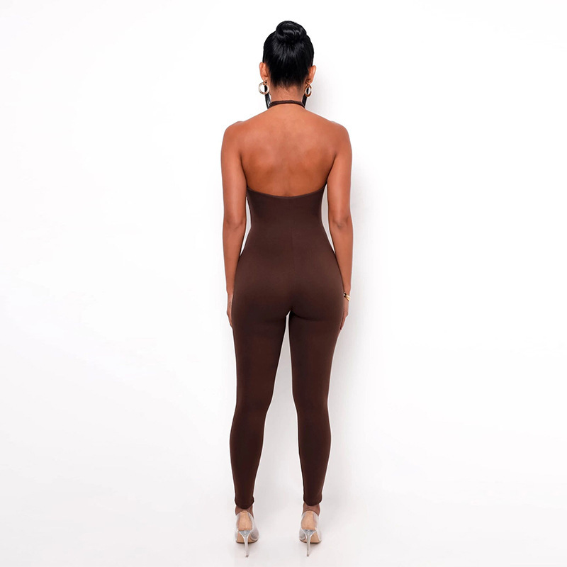 women's open back halter solid color high waist tight-fitting jumpsuit nihaostyles clothing wholesale NSXPF73929