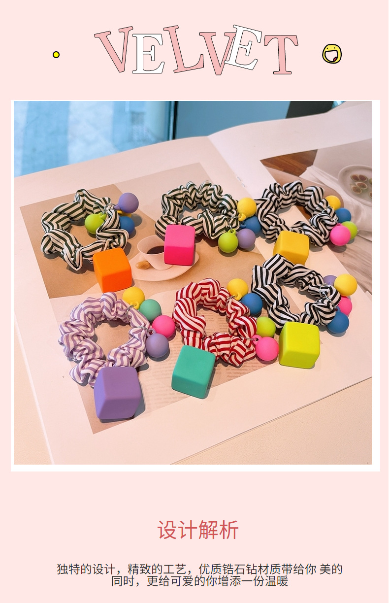Korean square frosted bead hair scrunchies  NHHD340035