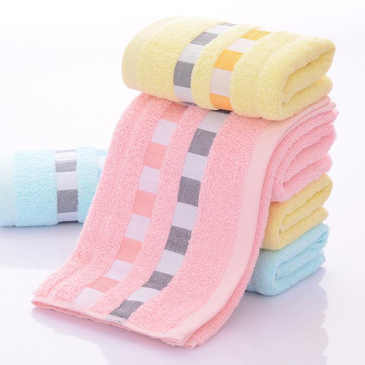 厂家直供 方格棉毛巾素色家居日用柔软吸水面巾 棉毛巾定制logo
