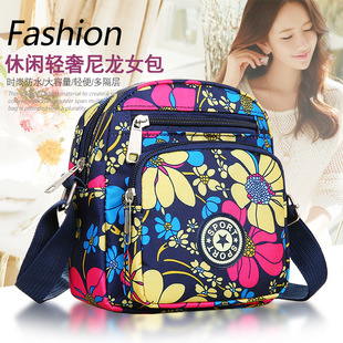 Canvas messenger bag Oxford small floral cloth small bag female bag nylon new mother cloth medium old and young shoulder bag