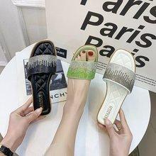 2021夏季女士拖鞋平底贴钻 一字拖韩版女鞋水钻凉拖鞋批发